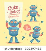 cartoon robot character. vector ... | Shutterstock .eps vector #302597483