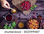 healthy breakfast with pumpkin...   Shutterstock . vector #302599487