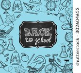 hand drawn back to school... | Shutterstock .eps vector #302604653