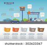 gas station infographics...   Shutterstock .eps vector #302623367