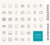 multimedia outline icons for... | Shutterstock .eps vector #302625443