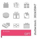 vector gift icon set on grey...