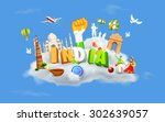 illustration of monument and... | Shutterstock .eps vector #302639057