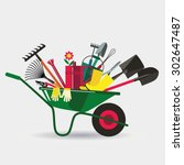 organic farming. wheelbarrow... | Shutterstock .eps vector #302647487