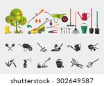 organic farming. tools for... | Shutterstock .eps vector #302649587