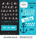 hand drawn hipster typeface and ... | Shutterstock .eps vector #302651213