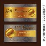 voucher template with premium... | Shutterstock .eps vector #302656847
