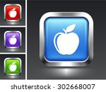apple on blue square button | Shutterstock .eps vector #302668007