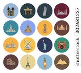15 flat landmark icons | Shutterstock .eps vector #302681237