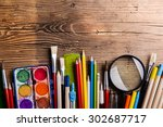 desk with stationary. studio... | Shutterstock . vector #302687717