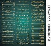 set of hand drawn golden glossy ... | Shutterstock .eps vector #302694167