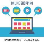 online shopping | Shutterstock .eps vector #302695133