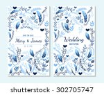wedding invitation  thank you... | Shutterstock .eps vector #302705747