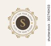 luxury logo template flourishes ...   Shutterstock .eps vector #302740433