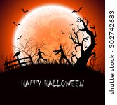 halloween background with scary ... | Shutterstock .eps vector #302742683