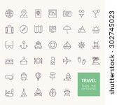 travel outline icons for web... | Shutterstock .eps vector #302745023
