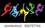 Silhouette Of Dancers  Colorfu...