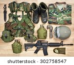Set Of Military Equipment On A...