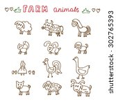set of hand drawn farm animals. ... | Shutterstock .eps vector #302765393