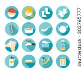 health and sanitation flat... | Shutterstock .eps vector #302765777