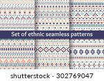 set of six ethnic seamless... | Shutterstock .eps vector #302769047