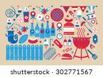 panoramic composition with bbq... | Shutterstock . vector #302771567