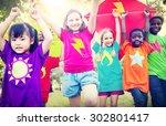 children flying kite playful... | Shutterstock . vector #302801417