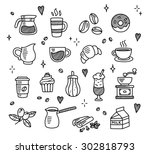 large set of hand drawn coffee... | Shutterstock .eps vector #302818793