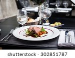 veal fillet with vegetable... | Shutterstock . vector #302851787