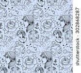 tattoo seamless pattern with... | Shutterstock .eps vector #302868287
