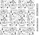tattoo seamless pattern with... | Shutterstock .eps vector #302868323