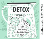 detox fat flush water recipe.... | Shutterstock .eps vector #302871263