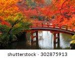 wooden bridge in the autumn... | Shutterstock . vector #302875913