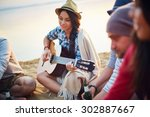 Pretty Girl With Guitar Sittin...