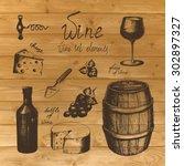 vector vintage hand drawn wine... | Shutterstock .eps vector #302897327