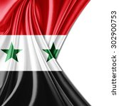 syria flag of silk with... | Shutterstock . vector #302900753