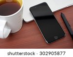 coffee work table with mobile... | Shutterstock . vector #302905877