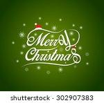 merry christmas lettering... | Shutterstock .eps vector #302907383