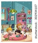 children playing in room | Shutterstock . vector #302934107