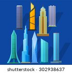 skyscrapers icons set in...