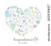 set of baby shower design... | Shutterstock .eps vector #302939837