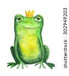 frog in crown. watercolor... | Shutterstock . vector #302949203