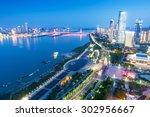 bird view at nanchang china.... | Shutterstock . vector #302956667