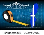 map of sweden with ruler ...