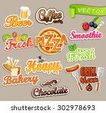 set of stickers of food   farm... | Shutterstock .eps vector #302978693