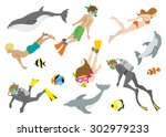 swimming people and marine life ... | Shutterstock .eps vector #302979233