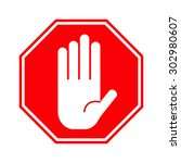 red stop hand sign | Shutterstock .eps vector #302980607