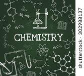 vector chalk draw chemistry... | Shutterstock .eps vector #302988137