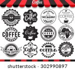set of vintage retro coffee... | Shutterstock .eps vector #302990897