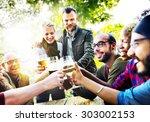 diverse people friends hanging... | Shutterstock . vector #303002153